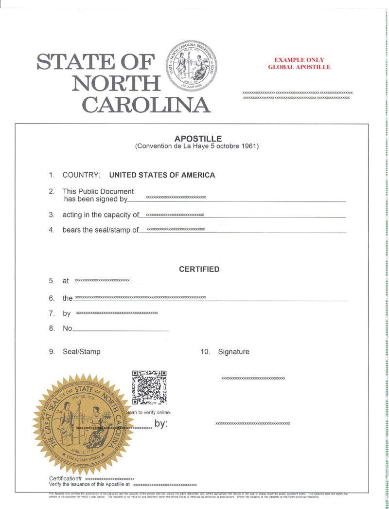 Apostille North Carolina